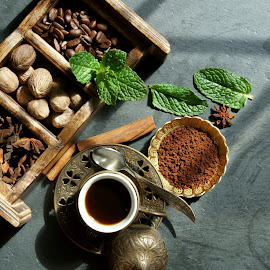 Coffee beans by Dipali S - Food & Drink Alcohol & Drinks ( mocha, aroma, wood, caffeine, spice, breakfast, slate, space, rustic, coffe, beans, drink, dark, ingredient, roasted, nutmeg, black, top, cinnamon, bean, espresso, seed, coffee, star, traditional, anise, wooden, food, background, grain, sticks, cafe, brown, view, natural )