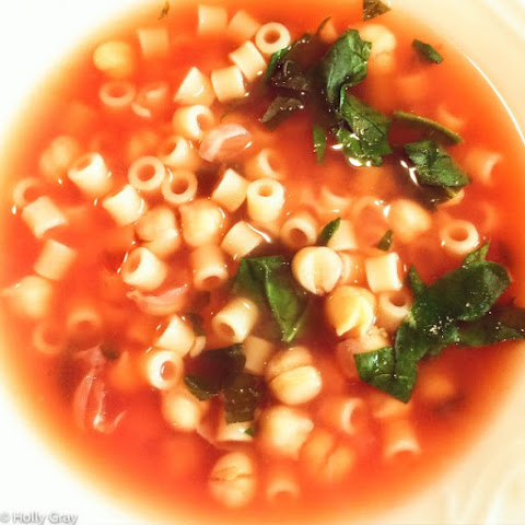 Chickpea and Pasta Soup with Spinach