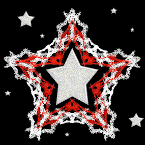Star Bright by Nancy Bowen - Illustration Holiday ( black background, red, stars, white, snowflake )