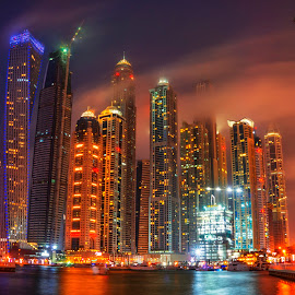 Foggy Dubai Marina by Abbas Mohammed - Buildings & Architecture Public & Historical ( foggy, hdr, night photography, dubai, uae, dubai wedding photographer, fggy, night, dubai marina )