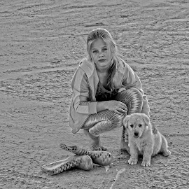 Little girl with dog by Lize Hill - Babies & Children Child Portraits (  )