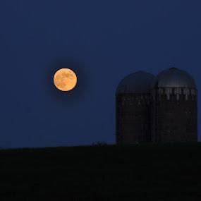 Nebraska Moon by Sam Reed - Landscapes Travel ( farm, moon, night, nebraska, country )