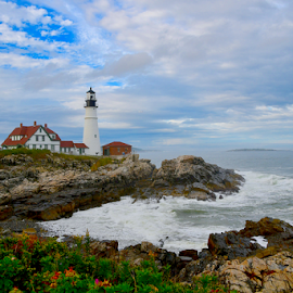 Portland Head Lighthouse by Liz Rosas - Landscapes Waterscapes ( waves, sky, maine, lighthouse, ocean, rocks, blue, fall, beach, portland, clouds, autumn )