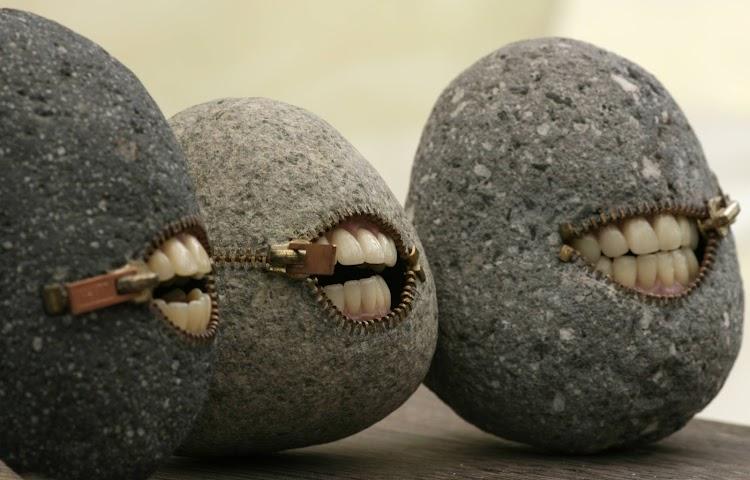 Stones with human teeth bizarre photoshopper