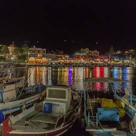 Harbor Nights by Dan Herman - City,  Street & Park  Vistas ( harbor, sailing, greece, elounda, crete )