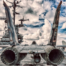 The Business End and Clouds by Craig Turner - Transportation Airplanes ( sunrise, flowers, martinez train station, nas alameda, f14, winter, birds, f4, green fields, airplanes, fishing alameda, sf, martinez waterfront, close ups, hdr, sunset, uss hornet, san francisco, storms, grapes, lensbaby )