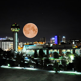 Knoxville SuperMoon by Kelly Hogan - City,  Street & Park  Night ( knoxville, downtown knoxville, tennessee, landscape, supermoon )