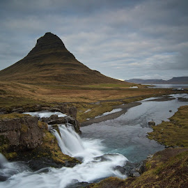 Kirkjufell by Charlie Davidson - Landscapes Mountains & Hills ( clouds, water, iceland, sky, mountain, waterscape, waterfall, long exposure, river )