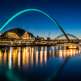 Newcastle Quayside by Michael  Conrad - Buildings & Architecture Bridges & Suspended Structures ( water, reflection, night life, newcastle quayside, tyne bridge, the sage, millenium bridge, city,  )