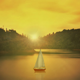 Golden Morning by Jomy Jose - Digital Art Places ( water, hills, tree, boat, sun )