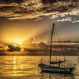 Cancun Sunrise by Richard Michael Lingo - Transportation Boats ( sunrise, mexico, cancun, landscape, boat )