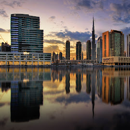 Business Bay by Karim Eldeghedy - City,  Street & Park  Skylines ( clouds, reflection, dubai, sunset, reflections, cityscape, burj khalifa )