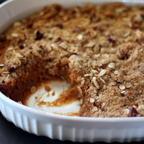 Lightened Up Sweet Potato Casserole with Pecan Oat Streusel