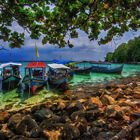 Boats of Lengkuas Island Belitong  by Aloysius Alphonso - Transportation Boats