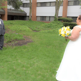 First Look by Michelle J. Varela - Wedding Bride & Groom