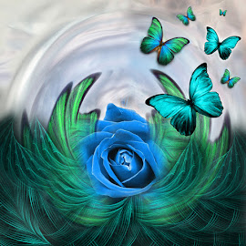 FLY UP TO THE SKY by Carmen Velcic - Illustration Abstract & Patterns ( abstract, blue, green, roses, flowers, digital )