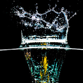 by John Iosifidis - Food & Drink Fruits & Vegetables ( water, splash, dark, yellow, black, lemon )