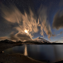 Elbrus by Александр Агабабаев - Landscapes Cloud Formations ( clouds, mountains, night, long exposure, lake )