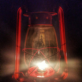 By the lanterns light by Patti Pappas - Digital Art Things ( lantern, red, camping, woods, light )