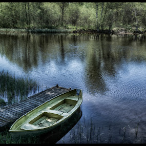 Boat on river by Tony Mortyr - Landscapes Waterscapes ( boat, river )