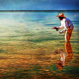 Bone Fishing by William Underwood  - Digital Art People ( dubai seychelles alphounse island )