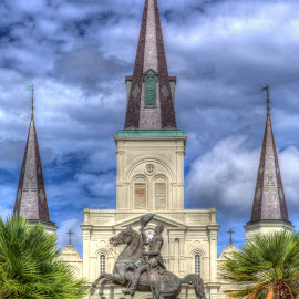 Jackson Square by Cal Brown - City,  Street & Park  City Parks ( new orleans, statue, louisiana, monument, cathedral, city park )