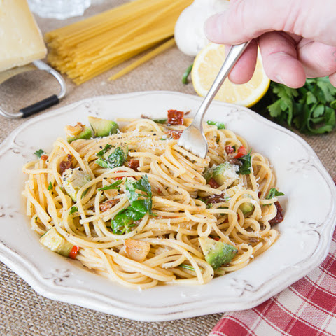 Speedy Spaghetti with Anchovy, Chilli and Avocado