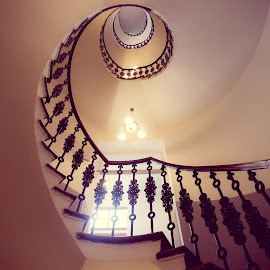 Winding Staircase by Adam Lang - Buildings & Architecture Architectural Detail ( winding, staircase, czech, spiral, wenceslas square hotel )