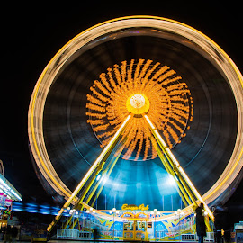 Ferris wheel by Timo Herzog - Digital Art Places ( colorful, night, fun, people, ferris wheel )