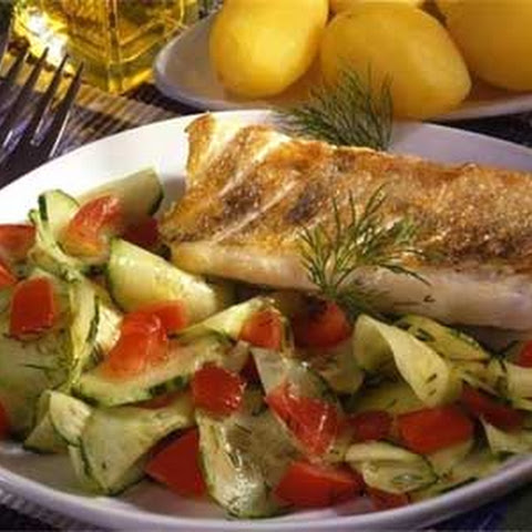 Baked Walleye with Fresh Salad