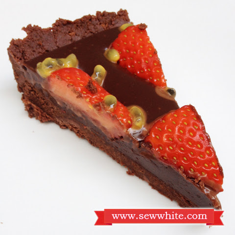 Chocolate Ganache, Strawberry and Passion Fruit Tart