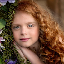 Dreaming by Carole Brown - Babies & Children Child Portraits ( red hair, beautiful, blue eyes, flowers, curly hair, slight smile )