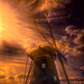 Windmill at sunset by Egon Zitter - Landscapes Weather ( orange, ray, sunset, dutch, beam, light, windmill )