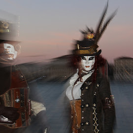 Venice carneval by Marina Pavlin - People Musicians & Entertainers ( lagoon, carneval, sunset, st.gorgio, mask )