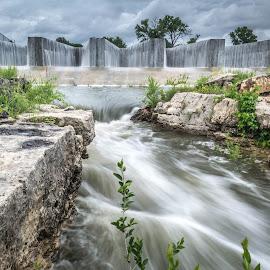 Overflowing dam by Daniel Maier - Landscapes Waterscapes ( water, waterscape, end drought, waterfall, lake, water scape, dam, creek, water fall, motion, rocks, rain, river,  )