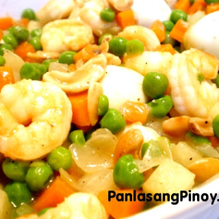 Shrimp with Quail Eggs and Green Peas