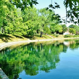 Great green day at Park Lafontaine. Montréal by Réal Michaud - City,  Street & Park  City Parks ( reflection, nature, park, green, trees, lake, cityscape, shade, landscape )