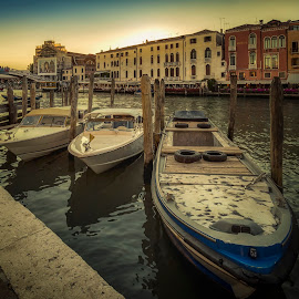 Boats at Canal Grande by Ole Steffensen - Transportation Boats ( barge, venice, water taxi, italy, city, canal grande )