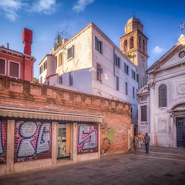 Amigos by Ole Steffensen - Buildings & Architecture Places of Worship ( venezia, grafitti, shop, church, san simeone profeta, venice, italy )