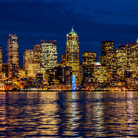 A view from Seattle's Ferry by Ro Ducay - City,  Street & Park  Skylines ( washington, seattle, seattle ferry, pacific northwest )