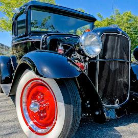 Hot Rod Cutie by Barbara Brock - Transportation Automobiles ( red wheels, classic auto, hot rod, antique car )