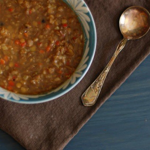 Lentil-Sweet Red Pepper Soup with Cumin and Black Pepper