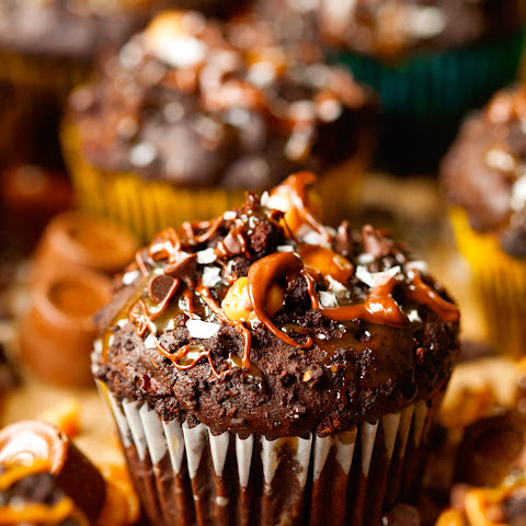 Salted Caramel Apple Stuffed Chocolate Crumb Muffins