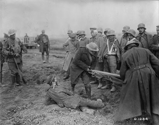 """A Stretcher Case"" at the capture of Arleux. April, 1917.  Credit: Canada. Dept. of National Defence/Library and Archives Canada/MIKAN 3395827"