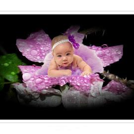 the flower by Kathleen Devai - Digital Art People ( drops, baby, portrait, rain, flower )