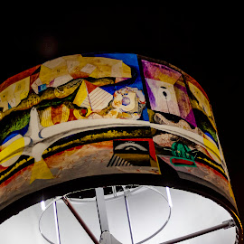 Head lamp! by Réjean Côté - Artistic Objects Furniture ( head lamp!, colorful, street, white, quebec city, street lamp, light )