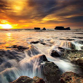 Golden Sunset  by Agus Adi - Landscapes Beaches ( #landscape #wonderfull #amazingsky #sunset #youngtalent #agusadisukantara )