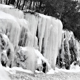 Icy Rocks by Linda    L Tatler - Black & White Landscapes (  )