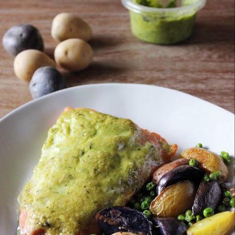 Roasted Pesto Salmon with Baby Potatoes and Peas