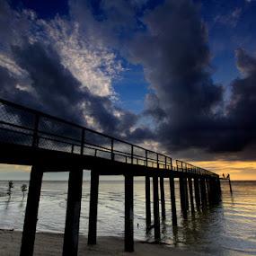 Bridge With Sunset by Endy Wiratama - Landscapes Sunsets & Sunrises ( indonesia, sunset, beach, travel, landscape, sun )